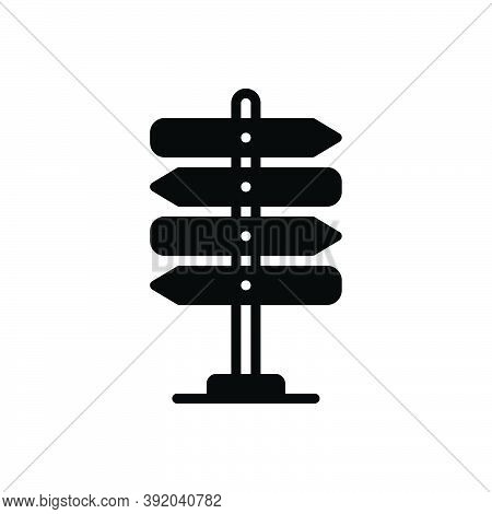 Black Solid Icon For Guideline Direction Sign-post Sign Arrow Decision Destination Travel Road Blank