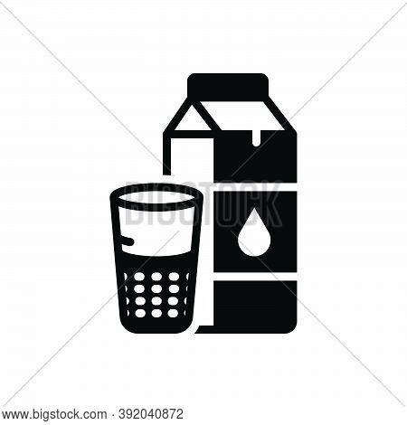 Black Solid Icon For Milk Oil Beverage Product Packaging Bottle Breakfast Calcium Energy Fresh Healt
