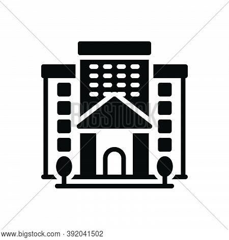Black Solid Icon For Institution Academy Foundation Building Architecture Organization Institute Com