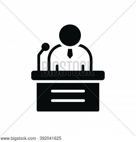 Black Solid Icon For Speak Speaker Orator Podium Rostrum Tribune Presenter Public Conference Microph
