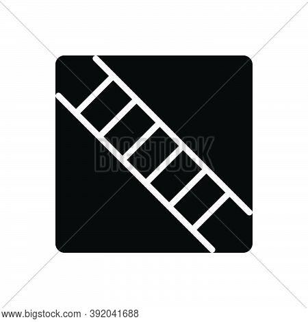 Black Solid Icon For Step Ladder Climb Tread-of-steps Staircase Drawbridge Progress Improvement Leve