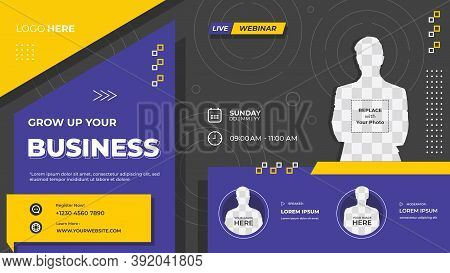 Purple And Black Geometric Background With Memphis Style, Suitable For Web Banner, Business Webinar,