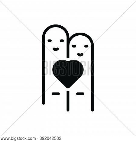 Black Solid Icon For Heart-on-two-finger Heart Finger Cheerful Happy Heart Friendship Emotion Happin