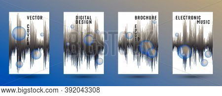 Music Covers Set With Dj Equalizer Background.  Abstract Digital Signal Amplitude.  Distorted Sound