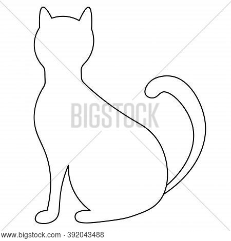 Cat. Sketch. A Pet. Vector Illustration. Coloring Book For Children. Outline On An Isolated Backgrou