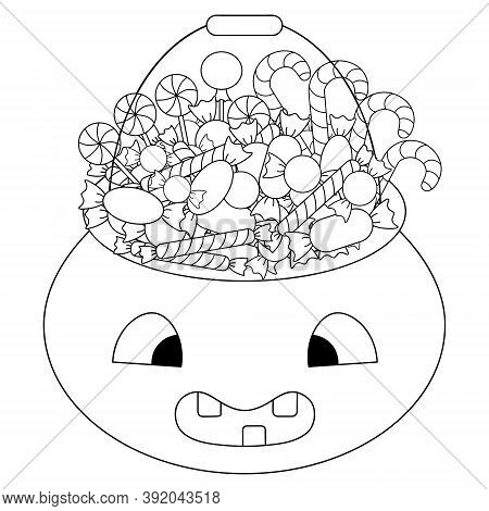 A Basket With Sweets. Sketch. Halloween Symbol Trick Or Treat. Vector Illustration Collection. Color