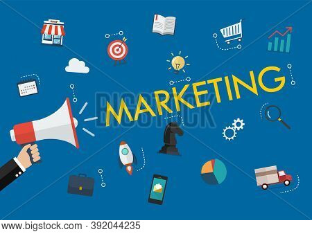 Hand Holding Megaphone With Marketing Word And Icons. Business Conceptual Vector Illustration