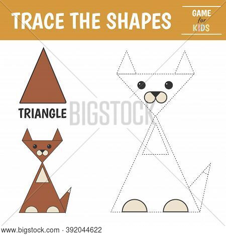 Learn Geometric Shapes - Triangle. Preschool Worksheet For Practicing Motor Skills. Dog Of Geometric