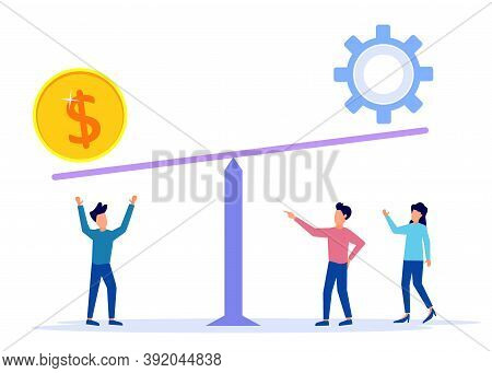 Vector Illustration Of Group Of People Weighing Coins And Gear, Balance Of Effort And Results, Achie
