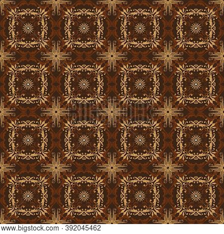 Vintage Motifs Design On Typical Bantul Batik With Simple Golden Brown Color Concept.