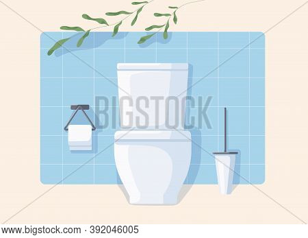 Clean Modern Wc With White Ceramic Toilet Bowl, Paper And Brush. Front View Of Restroom With Green P