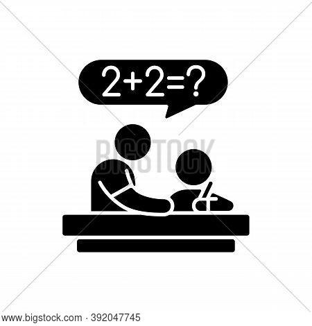 Tutor Black Glyph Icon. Private Teacher. Homework Help. Students Teaching. Instructing Kids. Test Pr