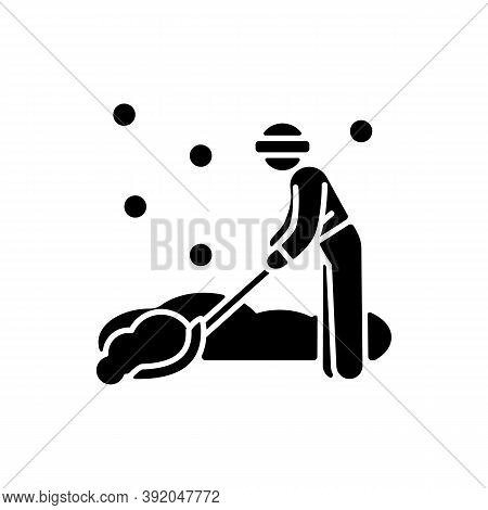Snow Removal Job Black Glyph Icon. Snow Plow Operator. Clearing Residential Streets Or Trails. Snowf