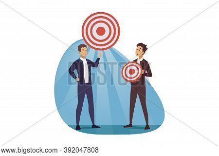 Development, Targeting, Goal, Business Concept. Corporate Planning Challenge And Financial Target De