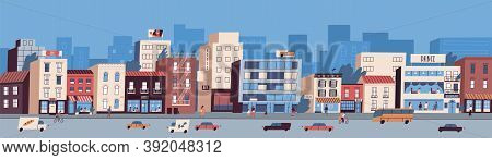 Colorful Cityscape With Buildings Facades, Transport On The Road And People Walking On The Street. U