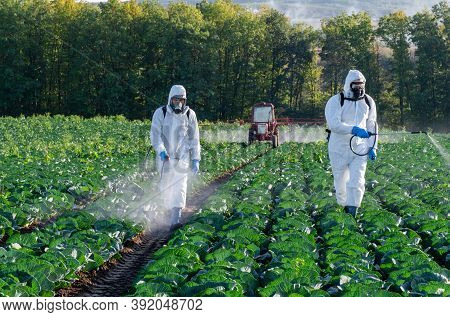 Farmer Spraying Pesticide Field Mask Harvest Protective Chemical