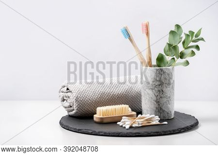 Concept Of Eco Friendly And Biodegradable Objects. Bathroom Supplies, Nail Brush, Bamboo Toothbrush