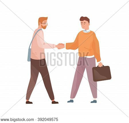 Adult People Shaking Hands Isolated On White Background. Businessmen Cooperation. Employee And Emplo