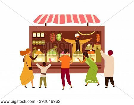 Asian Market Booth With Vendor And Buyers Isolated On White Background. Indian Street Souk Kiosk Wit