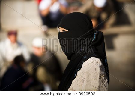 Young Uyghur Woman In Veil