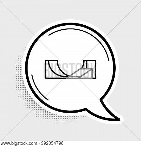 Line Skate Park Icon Isolated On Grey Background. Set Of Ramp, Roller, Stairs For A Skatepark. Extre