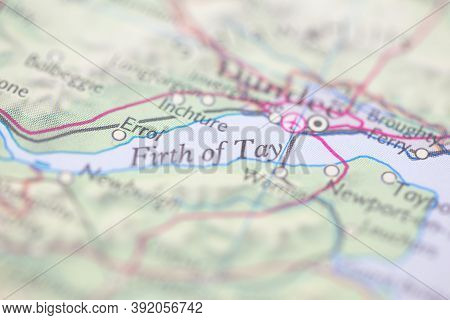 Shallow Depth Of Field Focus On Geographical Map Location Of Firth Of Tay Off Coast Of Scotland On A