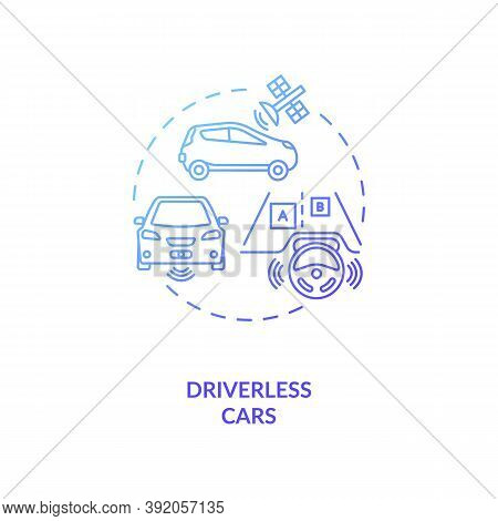 Driverless Cars Concept Icon. Futuristic Roads Safety Devices. Computer Controlled Automobile. Ai Ap