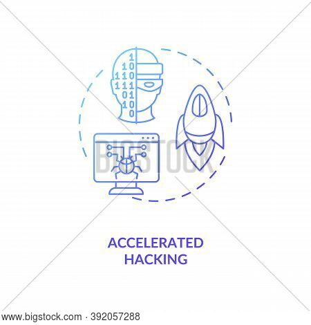 Accelerated Hacking Concept Icon. Stealing Lots Of Secret Information. Cybersecurity Future Problems