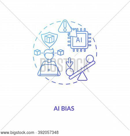 Ai Bias Concept Icon. Human Mistake While Codding Smart Computer Systems. Future Devices Problems. A