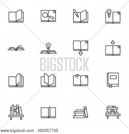 Book Line Icons Set, Outline Vector Symbol Collection, Linear Style Pictogram Pack. Signs, Logo Illu