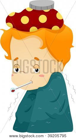 Illustration of a Sick Boy Wrapped in a Blanket and with a Compress on His Head