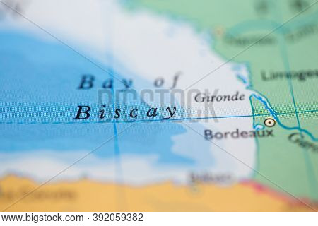Shallow Depth Of Field Focus On Geographical Map Location Of Bay Of Biscay Off Coast Of France On At