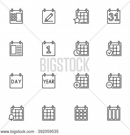 Calendar Appointment Line Icons Set, Outline Vector Symbol Collection, Linear Style Pictogram Pack.