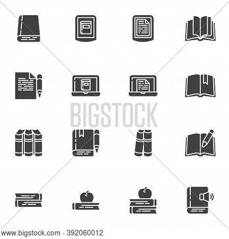 Book Library Vector Icons Set, Modern Solid Symbol Collection, Filled Style Pictogram Pack. Signs, L