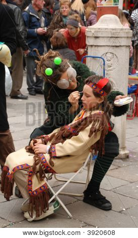 Face Painting At Venice Carnival