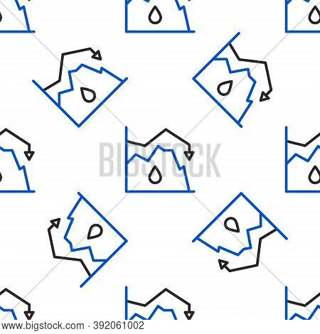 Line Drop In Crude Oil Price Icon Isolated Seamless Pattern On White Background. Oil Industry Crisis
