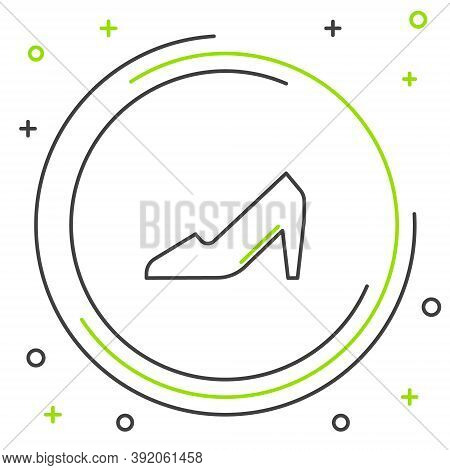 Line Woman Shoe With High Heel Icon Isolated On White Background. 8 March. International Happy Women