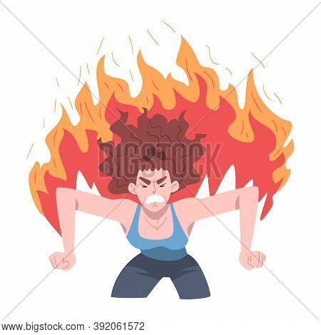 Furious Burning Woman, Stress, Burnout, Emotional Problems Concept Cartoon Style Vector Illustration