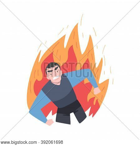 Furious Businessman In Flame, Burning Fury, Rage, Stress, Burnout, Emotional Problems Cartoon Style