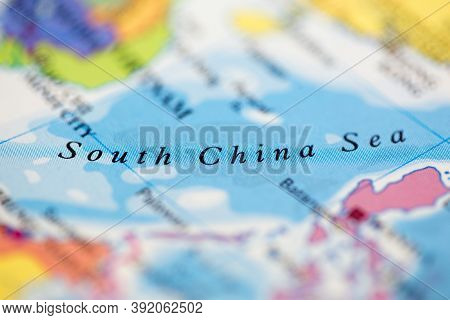 Shallow Depth Of Field Focus On Geographical Map Location Of South China Sea Off Coast Of Vietnam On