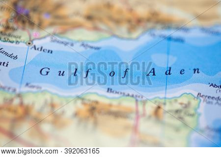Shallow Depth Of Field Focus On Geographical Map Location Of Gulf Of Aden Off Coast Of Yemen On Atla