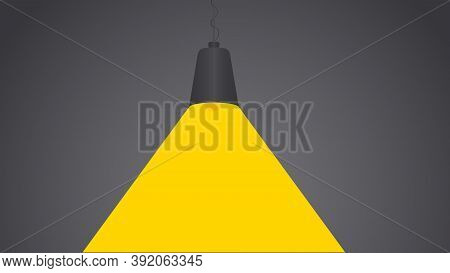 Black Fixture Hangs Next To The Wall And Bright Yellow Light Glows. Vector Illustration Have Place F