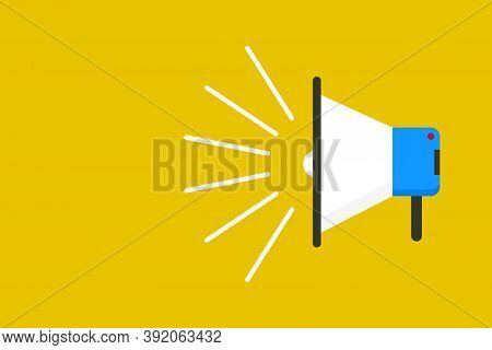 Loud Speaker Symbol. Shout Out The Words. Protest Graphic Background. Bullhorn Device Isolaed. Screa