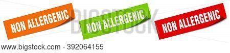 Non Allergenic Sticker. Non Allergenic Square Isolated Sign. Non Allergenic Label