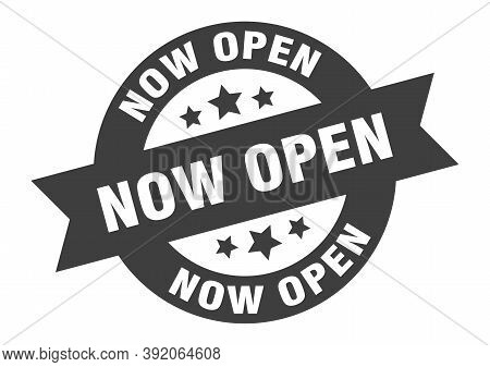 Now Open Sign. Round Ribbon Sticker. Isolated Tag