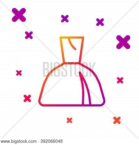 Color Line Woman Dress Icon Isolated On White Background. Clothes Sign. Gradient Random Dynamic Shap