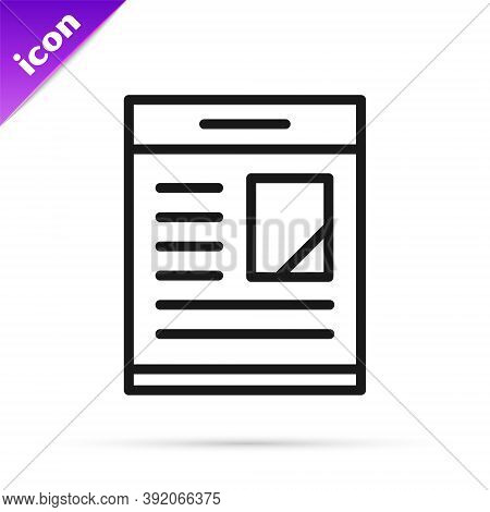 Black Line Newspaper Advertisement Displaying Obituaries Icon Isolated On White Background. Vector