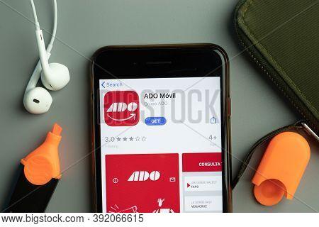 New York, Usa - 26 October 2020: Ado Movil Mobile App Icon Logo On Phone Screen Close-up, Illustrati