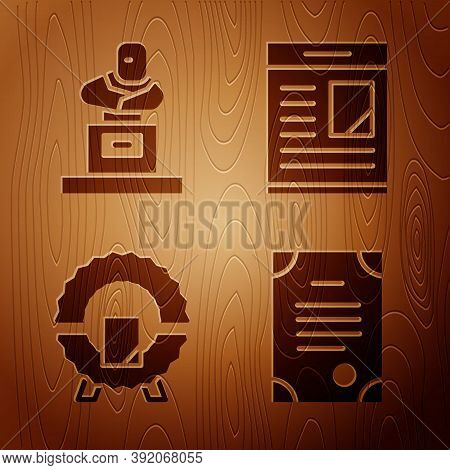 Set Death Certificate, Grave With Tombstone, Memorial Wreath And Obituaries On Wooden Background. Ve