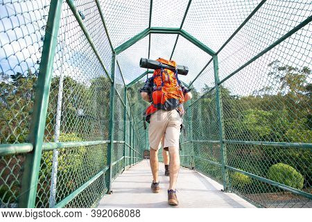 Rear View Of Man Walking On Bridge Surrounded With Grid. Hikers Carrying Backpacks, Crossing River T